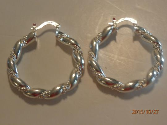 Silver Solid Sterling Plated Hoop Free Shipping Earrings Image 1