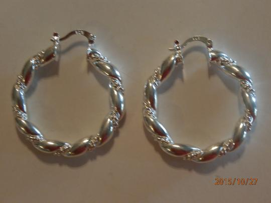 Silver Solid Sterling Plated Hoop Free Shipping Earrings Image 3