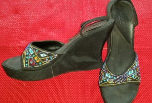 Coconuts by Matisse Beaded Beaded Sandal Black Wedges