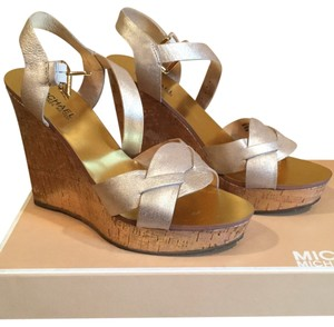 Michael Kors White gold Wedges