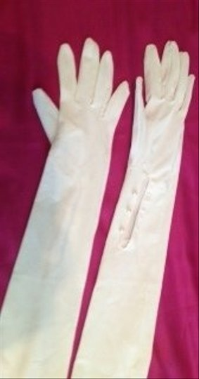 Gloves Ivory Cotton Opera Length With Inside B