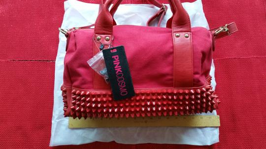Pink Cosmo Stud Studded Canvas Satchel in Red