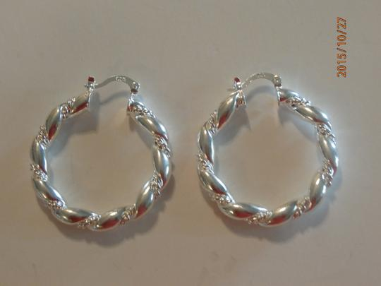 Silver Solid Sterling Plated Hoop Free Shipping Earrings Image 2