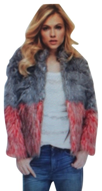 Isabel Lu Color Block Grey & Red Fur Jacket