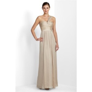 BCBGMAXAZRIA Champagne Jamille One Shoulder Dress