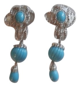 Jose & Maria Barrera JOSE MARIA BARRERA Silver & Turquoise AMERICAN STYLE Dangle Earrings