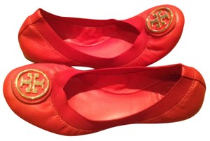 Tory Burch Caroline 2 Red leather/Gold tone logo Flats