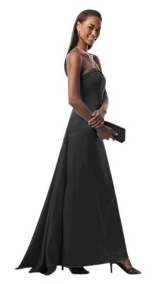Davids Bridal Black Satin 81026 Strapless A Line With Cascading