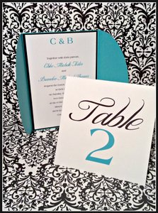 100 Turquoise/tiffany Blue And Damask Gatefold Wedding Invitations