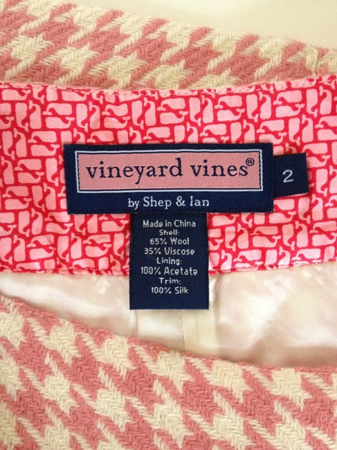 Vineyard Vines Houndstooth Wool Mini Skirt Rose & Cream
