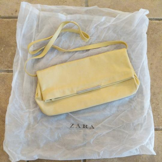 Zara Leather Shoulder Strap Small Purse Yellow Clutch Image 5