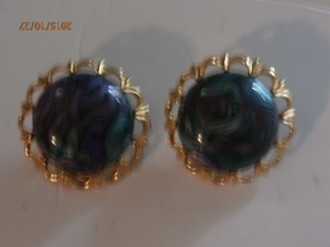 Vintage Mosaico Goldtone Earrings
