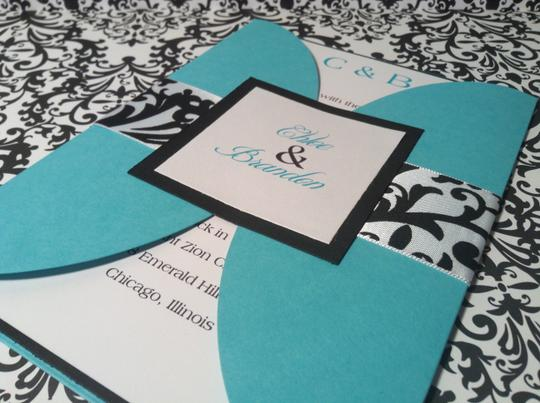 25 Tiffany Blue/turquoise And Damask Gatefold Wedding Invitation