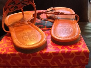 Tory Burch Leather Sunset Orange Sandals