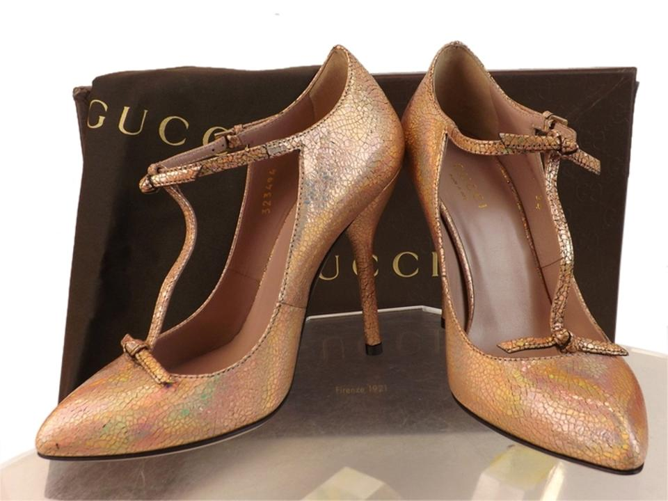 64a858be503 Gucci Beige Beverly Salmon Cracked Leather T-strap Knotted 8 Pumps ...