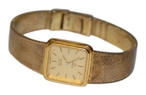 Omega 1980s Omega De Ville .95 Silver Gold Vermeil Banded Womens Watch