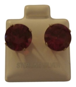 NEW STERLING SILVER 10MM ROUND STUD RUBY CZ