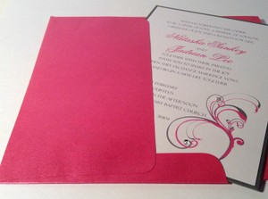 25 Fuschia And Dark Gray Invitation Suite