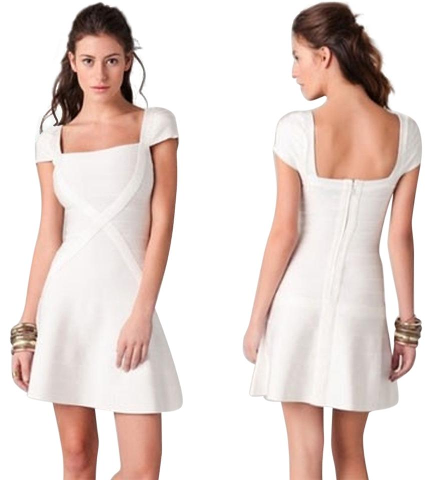 Hervé Leger White Wedding Bandage Mini Cap Sleeve Low Back Above ...