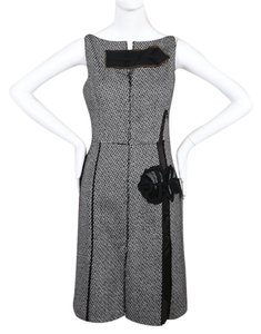 Prada Tweed Work Floral Embroidered Wool Dress