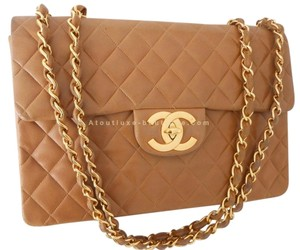 Chanel Lambskin Quilted Gold Cross Body Bag
