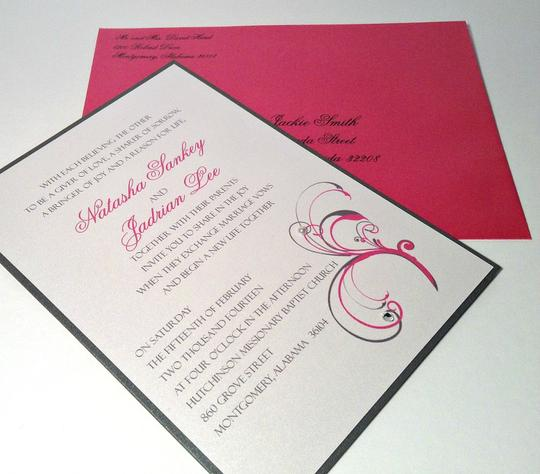 100 Fuschia / Pink Azalea And Dark Gray Invitation Suite