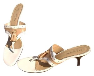 Bellafatto Made In Itay Leather Slides Tan and Ivory Italy Sandals