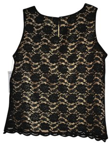 Karen Scott 65%nylon 35% Rayon Top Gold shell with black lace overlay