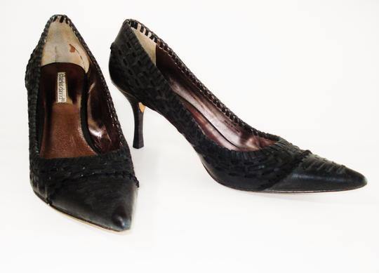 Charles David Pointed Toe Woven Weave Leather Heels Stacked Stiletto Black Pumps