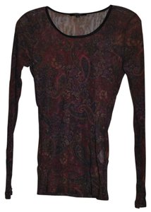 Karen Kane Hand Wash Cold Top Paisley print Burgundy,purple,green