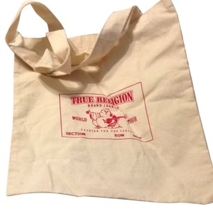 True Religion Tote in Beige With Red Lettering