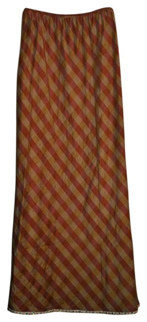 T.T.Mars Silk Taffeta Dryclean Only Maxi Skirt Muted plaid rose lavendar and gold green.Bottom trim is white lace with green orange beads