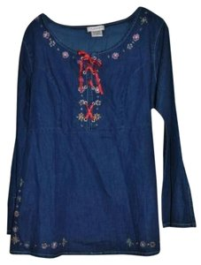 Cindy Ambuehl on HSN 100%cotton Dryclean Only Top Denim with embroidery
