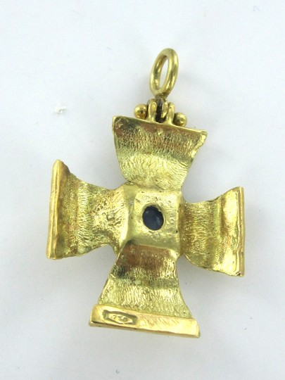 Other STUNNING CABOCHON 18 KARAT SOLID GOLD PENDANT WITH SAPPHIRE STONE MEDAL OF VALOR HONOR CROSS