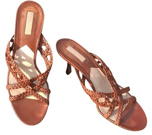 Michael Kors Woven Leather Saddle Brown Sandals