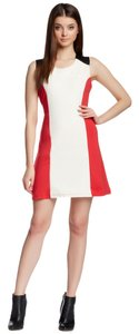 Romeo & Juliet Couture Leather Leather Trim Winter Winter Shift Color Block Red Shift Mini Fall Fashion Dress