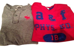 Abercrombie & Fitch T Shirt Red & grey