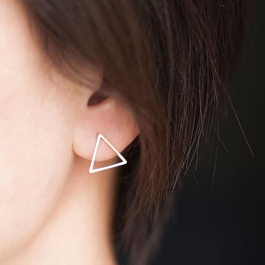Other Silver Triangle Stud Earrings Image 1