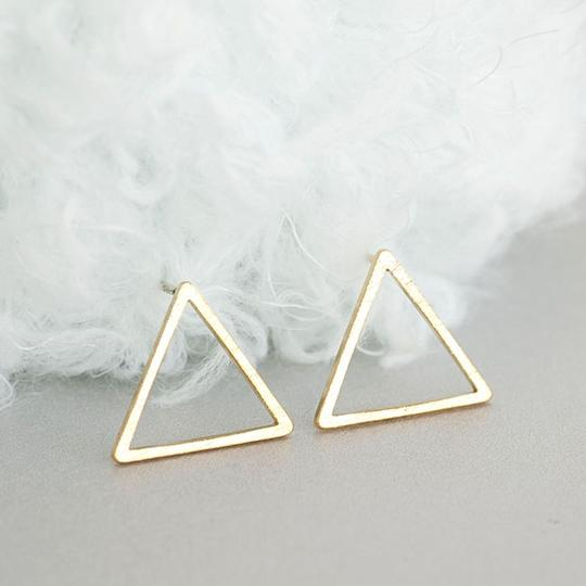 Other Silver Triangle Stud Earrings Image 2