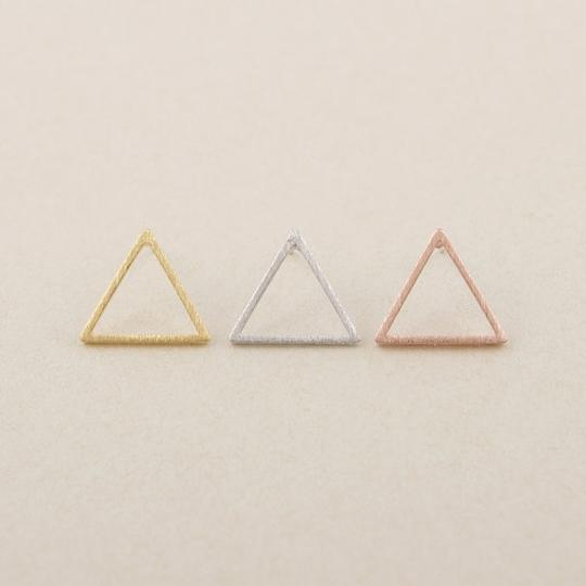 Other Silver Triangle Stud Earrings Image 3
