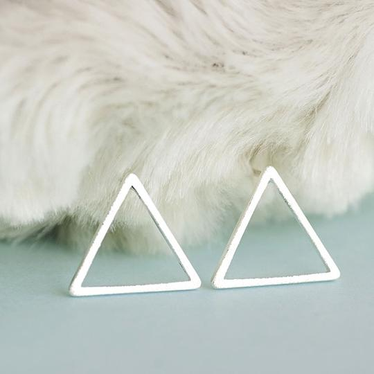 Other Silver Triangle Stud Earrings Image 4