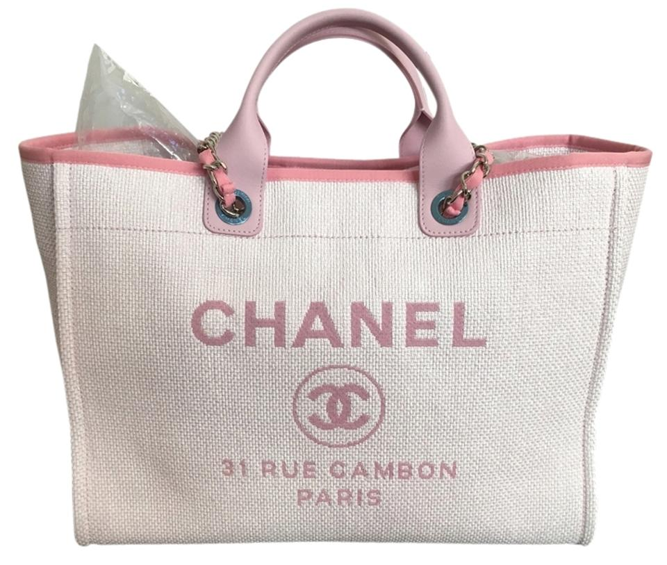 dcd187f8afd4 Chanel Deauville Large with Silver Chain Cruise 2016 Pink Raphia ...