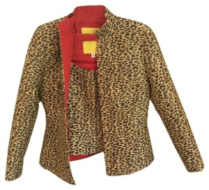 Flores & Flores 2 piece black/tan animal print, red silk lining Jacket