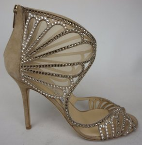 Jimmy Choo Nude Kole Suede Leather Glimmering Crystals Sandals Size US 9.5 Regular (M, B)