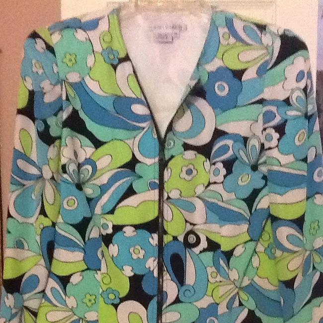 Maggy London White With Black, Lime Green, Aqua Blue Jacket