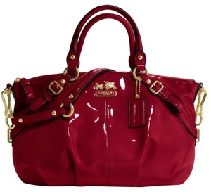 Coach Sophia Madison Patent Leather Holiday Exclusive Satchel In Crimson