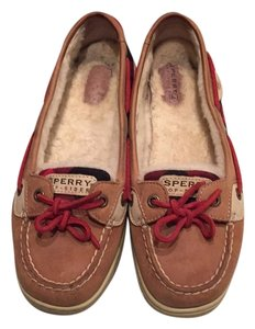 Sperry Beige, red and black plaid Flats