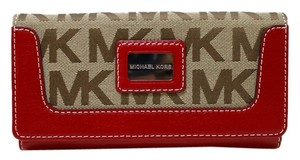 Michael Kors Michael Kors Brookville Flap Wallet Carryall in Signature Jacquard - Beige, Ebony & Red