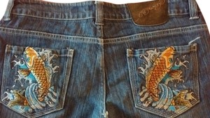 Ed Hardy Embroidered Vintage Straight Leg Jeans-Medium Wash