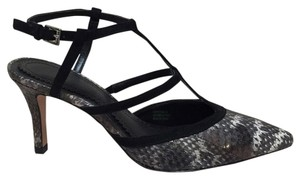 Pour La Victoire Black and gray snake and suede Pumps